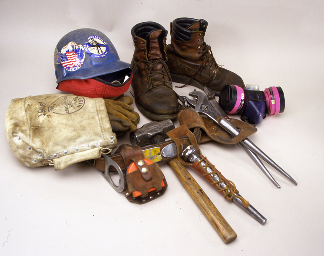 Tools used by iron worker, James Connor to remove debris at the World Trade Center between September 2001 and January 2002. Photo by Hugh Talman.