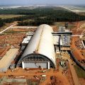 Image of the National Air and Space Museum's Steven F. Udvar-Hazy Center being built near Dulled Airport in Virginia. The building will be used to store and exhibit the Smithsonian's ever growing aeronautical collections. Well known objects including the Space Shuttle Enterprise and the Enola Gay will be on display at the new center