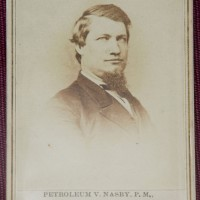 An 1865 carte-de-visite portrait—a highly collectible albumen photograph on a small card—featuring American humorist Petroleum Nasby, pseudonym of David Ross Locke. (Photo by Brian Ireley)