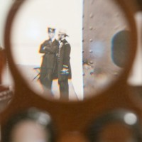 A magnified view of a photo looking through a single lens viewfinder of a Civil War-era stereoviewer. (Photo by Brian Ireley)