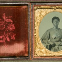 An ambrotype of an unknown African American woman who worked as a laundress for the Union Army in Richmond, Va., ca. 1865. (Photo by Brian Ireley)