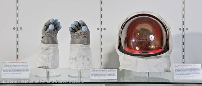 Neil Armstrong's gloves and visor go on display