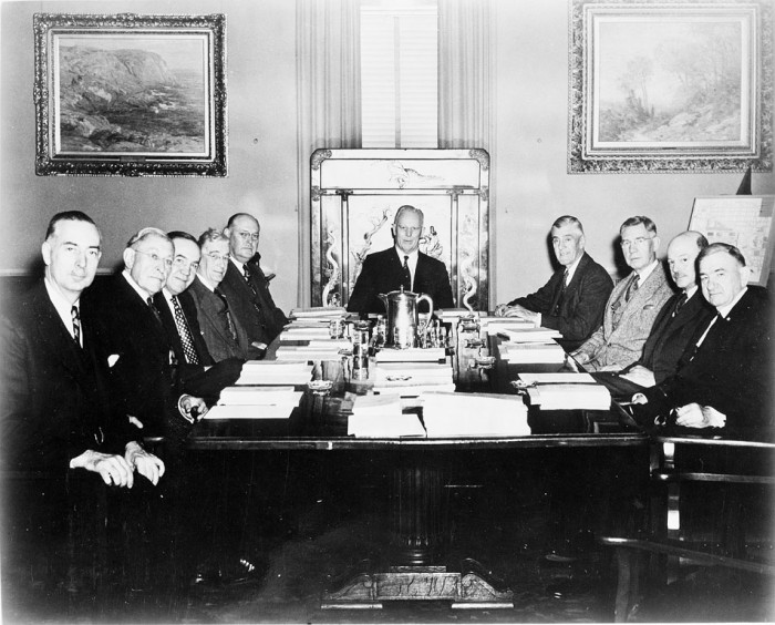 A Regents' meetin gin 1954. Note: These are not the original 1846 Regents.