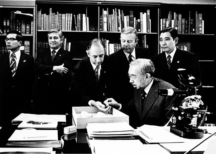 Emperor Hirohito of Japan at the National Museum of Natural History with Dr. Frederick M. Bayer, Dr. Joseph Rosewater, and Professor Hidemi Sato (University of Pennsylvania) on October 2, 1975. (Photo by Vincent Connolly as featured in the Torch, November 1975)