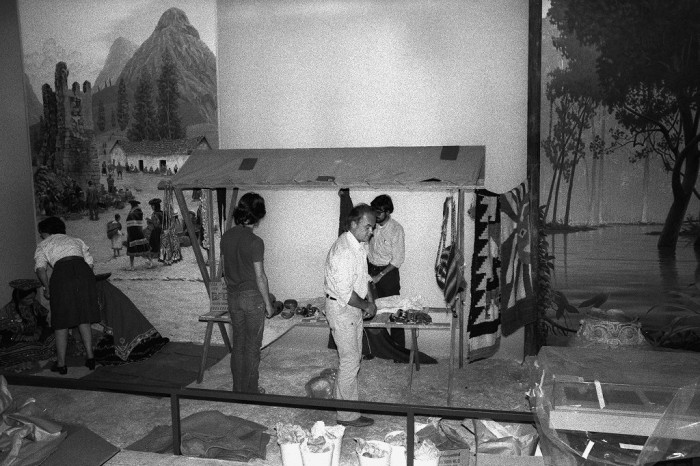 "America: Continent and Culture,"" in the National Museum of Natural History. From left: Susan Wallace, Dr. Geoffrey Conrad, Tom Thill, and Steven Makovenyi. (Photo by Vincent Connolly, as featured in the Torch, December 1975"