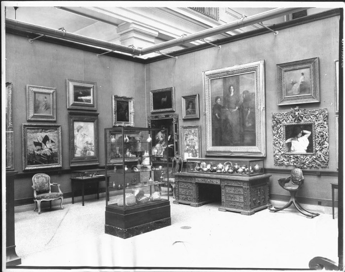 Central room of the National Gallery of Art, now the Smithsonian American Art Museum, in the new United States National Museum Building (Natural History Building) displaying paintings and other objects from the John Gellatly Collection, June 1933 (as featured in the Torch, July 1978)