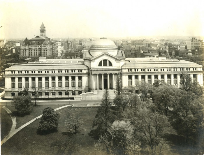 The United States National Museum, now known as the National Museum of Natural History, building viewed across the Mall from one of the Smithsonian Institution Building's towers on May 3, 1917.