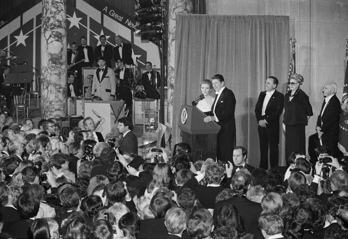 President Ronald Reagan addresses party-goers assembled in the Rotunda of the National Museum of Natural History's at the Inaugural Ball in January 1981.