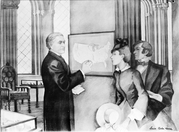 "This image is of a painting by Louise Rochon Hoover, titled, ""Professor Henry Posts Daily Weather Map in Smithsonian Institution Building, 1858."" Joseph Henry, the first Smithsonian Secretary, is depicted showing visitors the weather map displayed in the Smithsonian Institution Building and updated every day. This painting was one of nine by different artists commissioned by the Smithsonian to illustrate events in Smithsonian history for the Smithsonian exhibit at the Chicago Century of Progress Exposition in 1933."