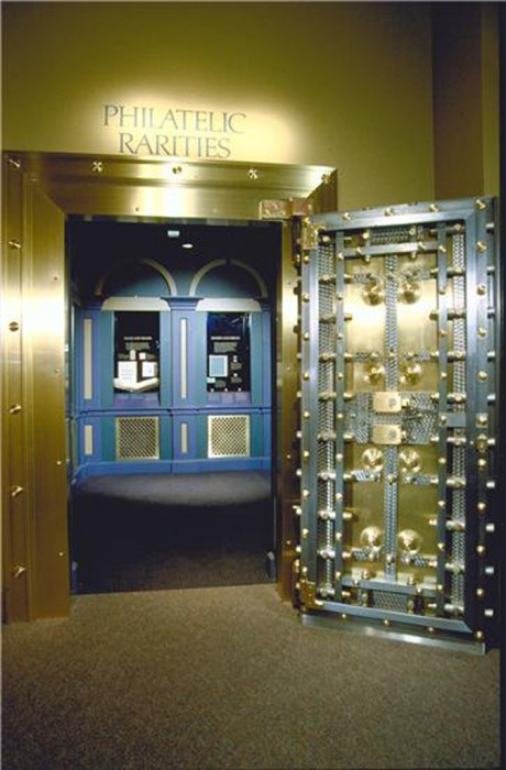 The entrance to the Philatelic Rarities Vault of the National Postal Museum in the Old Washington City Post Office Building.
