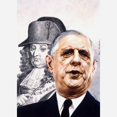Charles De Gaulle, 1963, by Boris Chaliapin, National Portrait Gallery, Gift of Time magazine