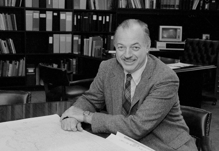 Ninth Secretary of the Smithsonian Institution (1984-1994) Robert McCormick Adams in 1984. (Photo by Richard Hoffmeister, as featured in the Torch, October 1993)