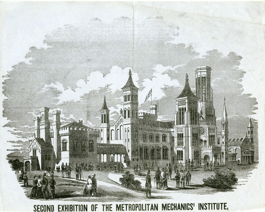 "February 8, 1855 The Great Hall of the Smithsonian Institution Building  (""The Castle"") is opened to the public as the site of the Metropolitan  Mechanics' ..."