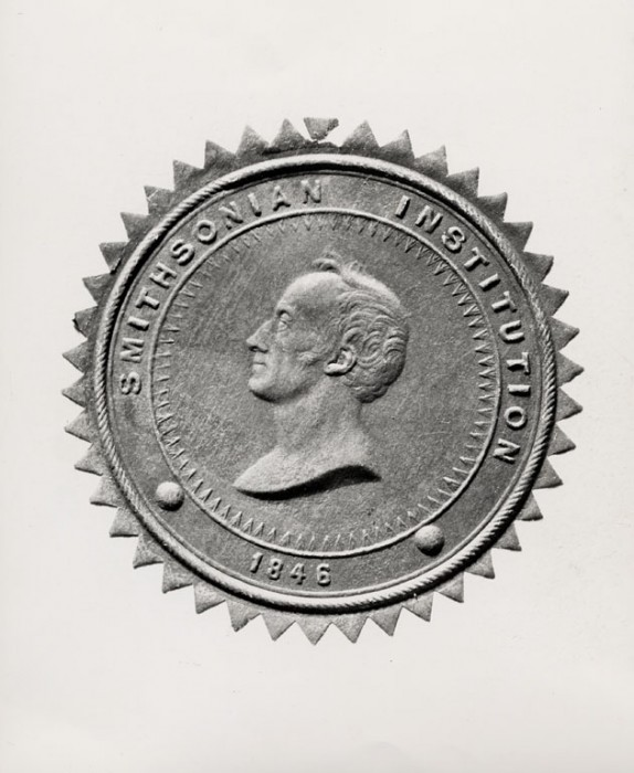 The first Smithsonian seal, c. 1847 or later, created by Edward Stabler (1794 - 1883)