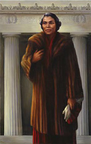 Painting of Marian Anderson in fur coat