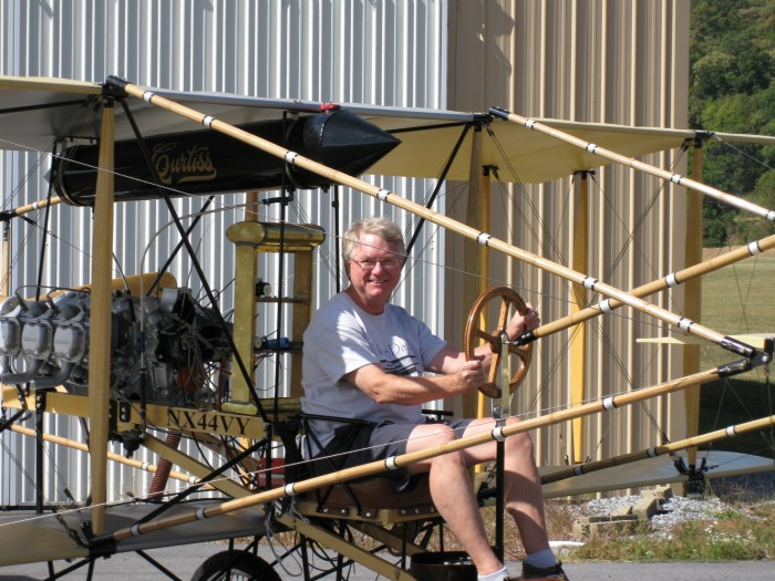 Dan Rodgers in a Curtiss Model D replica that was built and flown to mark the 100th anniversary of Naval Aviation.