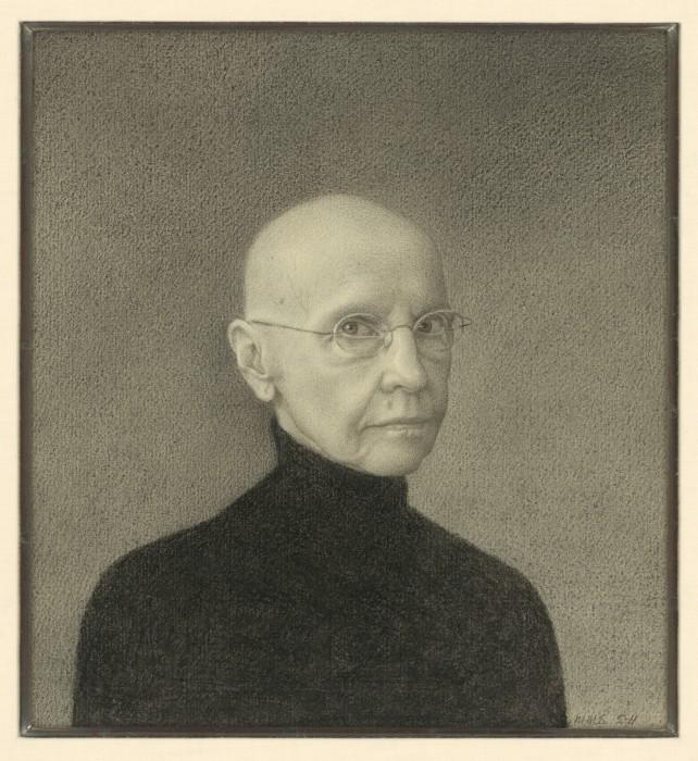 "Self-portrait Martha Mayer Erlebacher (born 1937) 2011 Nero pencil on paper Mat: 42.5 x 40cm (16 3/4 x 15 3/4"") Frame: 46.4 x 43.8cm (18 1/4 x 17 1/4"") Jalane and Richard Davidson"