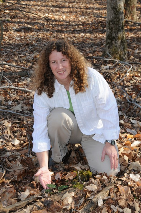 Melissa McCormick and a Tipularia orchid.