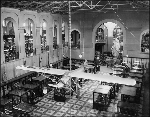 The Spirit of St. Louis on display in the Arts and Industries Building, 1930s. Photographer unknown.