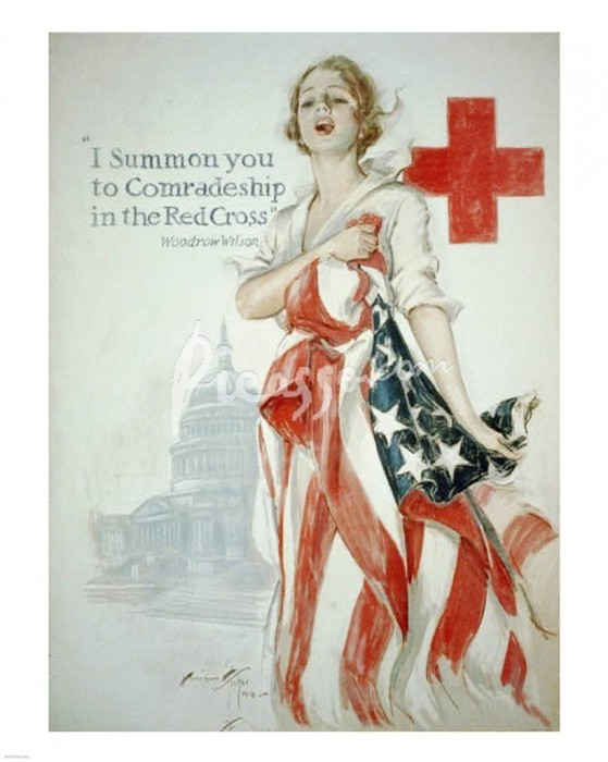 WWI Red Cross recruiting poster by Harrison Fisher