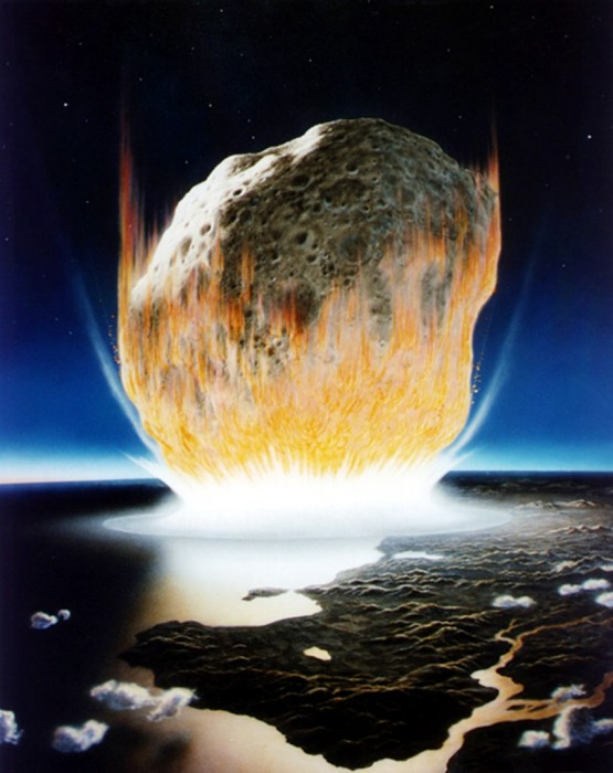 asteroid impact, artists rendering, meteors, mass extinction event