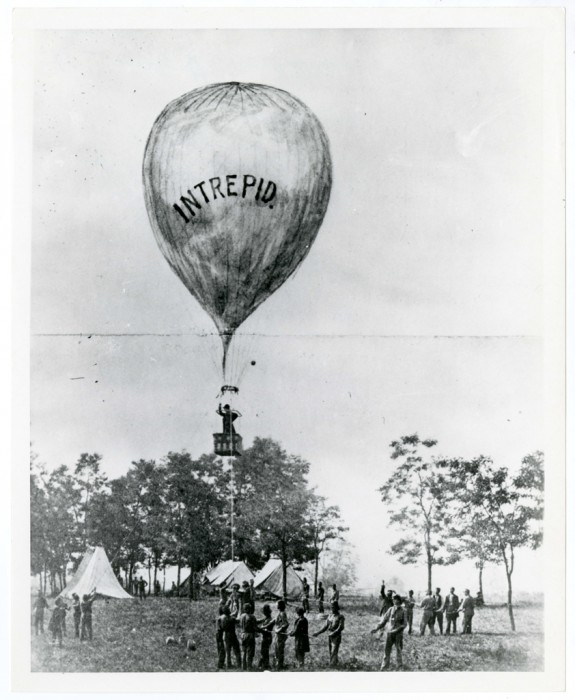 "Image of Thaddeus Lowe's balloon test of the ""Intrepid"" at the battle of Fair Oaks, Virginia, during the Peninsular Campaign, May-August 1862."