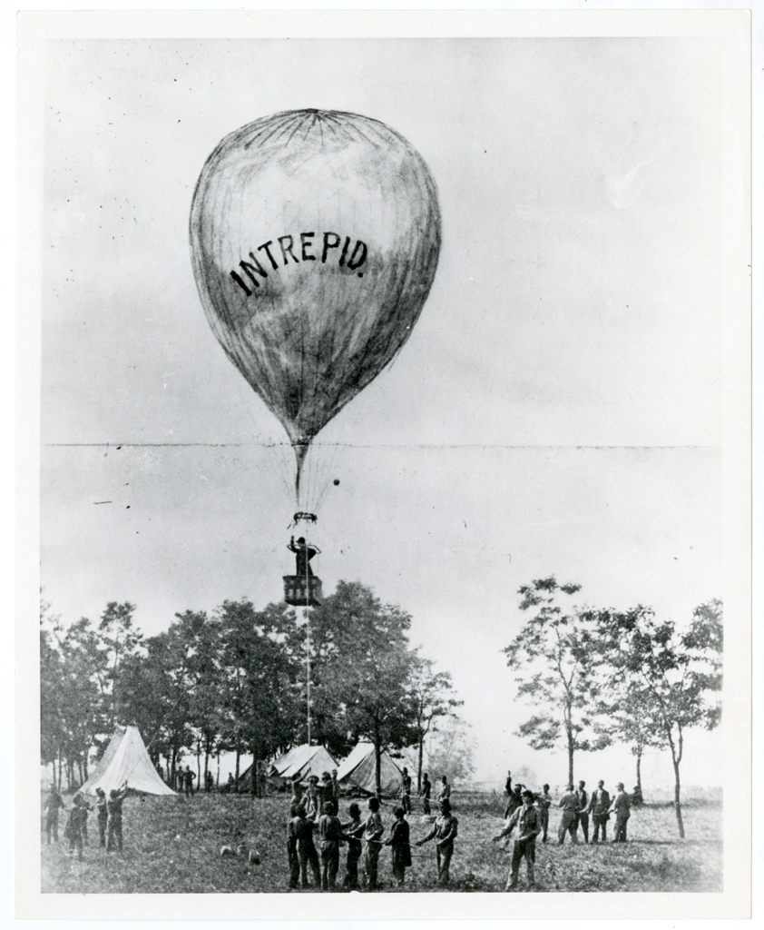 """Image of Thaddeus Lowe's balloon test of the """"Intrepid"""" at the battle of Fair Oaks, Virginia, during the Peninsular Campaign, May-August 1862."""