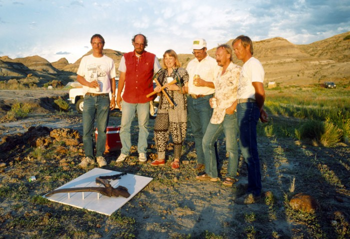 Kathy Wankel, with Marsh picks, and her husband, Tom, immediate right, pose with the Museum of the Rockies field crew, from left, Patrick Leiggi, Jack Horner, Matt Smith and Bob Harmon, with casts of the T.rex arm bones she found that lead to the discovery of the Wankel T.rex near Fort Peck Reservoir in Eastern Montana. The Wankel T.rex is one of the most complete T.rex specimens ever unearthed, with 80- to 85-percent of the remains recovered.(Photo courtesy Museum of the Rockies)