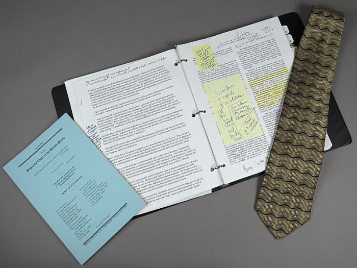 Attorney Paul Smith donated objects from the Lawrence v. Texas case to the American History Museum, including the notebook he used at the podium, the neck-tie he wore that day, and a copy of the legal brief.