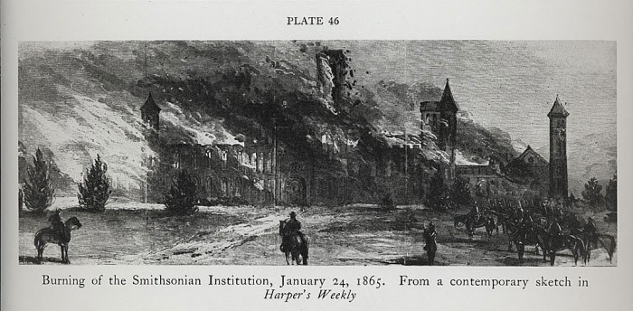 Burning of the Smithsonian Institution, January 24, 1865, sketch in Harper's Weekly,