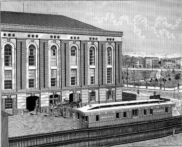 The Armory Building which was transferred to Smithsonian use in 1876 to store its National Museum collections. It is also used by the United States Fish Commission, administered by Smithsonian Secretary Spencer Baird. Fish Commission staff are delivering or sending fish of some type for distribution (not scientific specimens) from the Armory Building. A railroad car is labeled United States Fish Commission sits near the building with a horse-drawn cart in front of the building holds wooden barrels