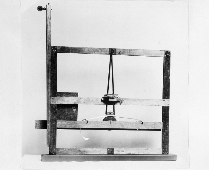 Samuel Morse's Experimental Telegraph from 1837. With this instrument Morse first demonstrated the receiving of electro-magnetic telegraphic messages.