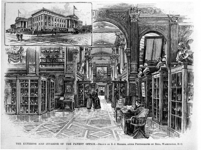 Engraving shows interior and exterior views of the Patent Office Building. From Harper's Weekly, April 11, 1891, Volume XXXV, No. 1790, page 268, drawn by E. J. Meeker after photographs by Bell, Washington, D.C.