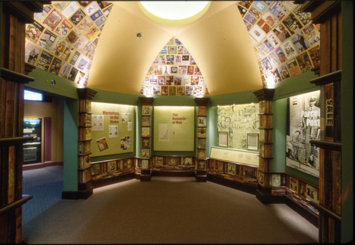 """The """"Business of the Mail: Parcel Post"""" gallery installed in the Atrium of the National Postal Museum located in the Old Washington City Post Office Building that was on display c. 1993 to 1998"""