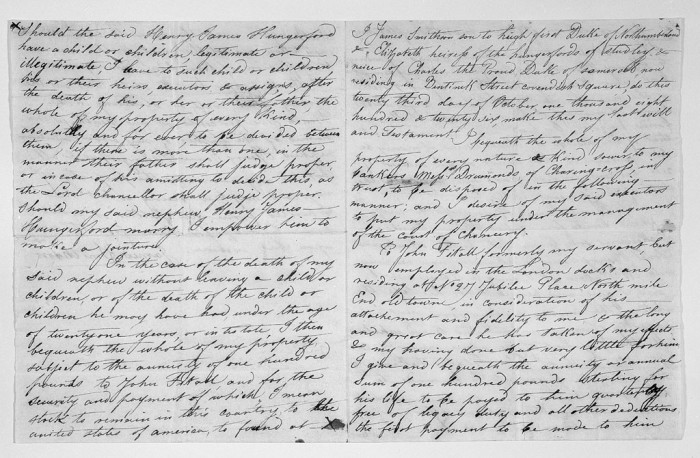 Full text of the two page, double-sided handwritten draft of James Smithson's will, believed to be in his own handwriting, in which he specifies his bequest to the United States. This handwritten draft of Smithson's will was acquired by the Smithsonian Institution in 1878 from George Henry de la Batut of France.