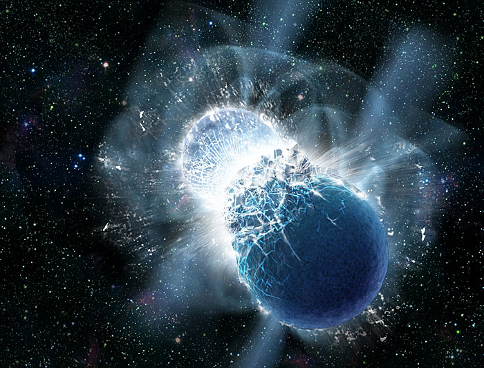 This artist's conception portrays two neutron stars at the moment of collision. New observations confirm that colliding neutron stars produce short gamma-ray bursts. Such collisions produce rare heavy elements, including gold. All Earth's gold likely came from colliding neutron stars. Credit: Dana Berry, SkyWorks Digital, Inc.