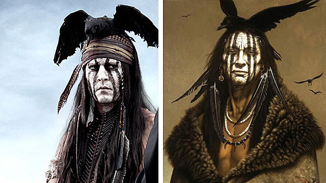"Johnny Depp's makeup for the character of Tonto was inspired by a painting by Kirby Sattler called ""I am Crow."""