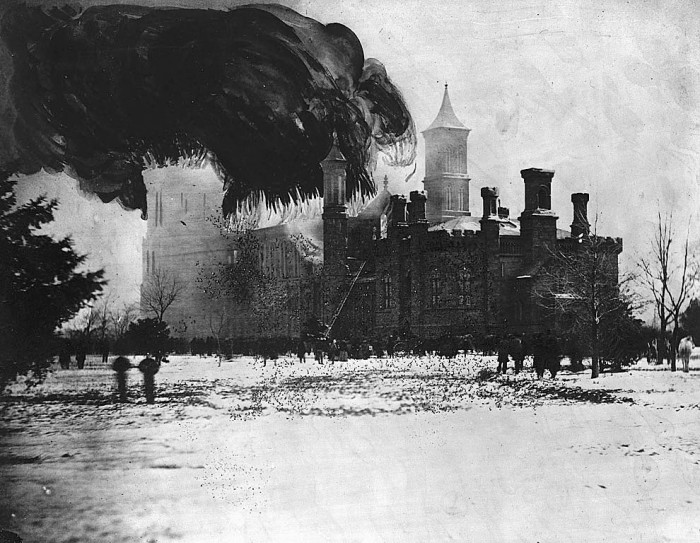 Fire in the Smithsonian Institution Building, by Alexander Gardner, January 1865, photographic print with painting,