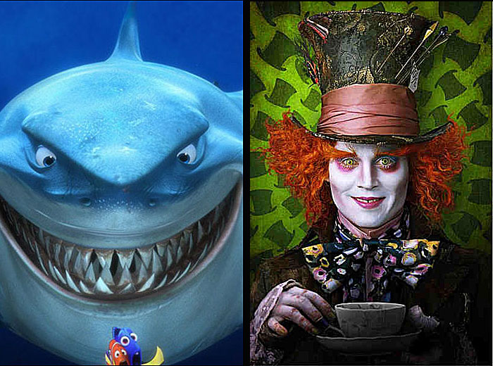 "Images from ""Finding Nemo"" (left) and Tim Burton's ""Alice in Wonderland,"" courtesy Disney."