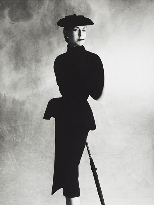 Irving Penn Dior Black Suit (Tania), Paris 1950 gelatin silver print Copyright © by the The Irving Penn Foundation