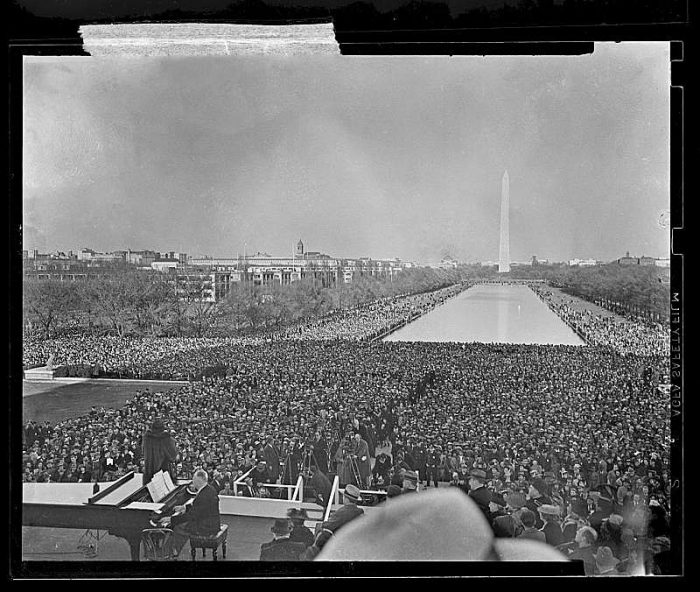 Black and white photo of crowd