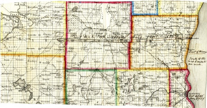 Map by Increase Allen Lapham (1811-1875), showing the path of a tornado through the counties of Columbia, Dodge and Washington in Wisconsin sent to the Smithsonian Meteorological Project. The tornado had passed over the eastern portion of Wisconsin on August 21, 1857.
