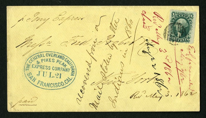 """10c Washington on Pony Express cover, 1860. Loan from William H. Gross. A Pony Express rider carried this cover, considered one of the most historically significant in U.S. postal history. Notice the notation on the front: """"recovered from a mail stolen by the Indians in 1860."""""""