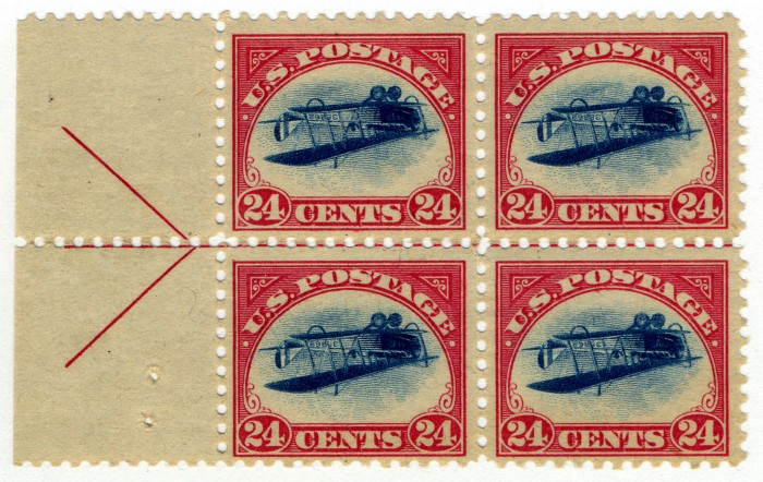24c Curtiss Jenny inverted block of four, 1918. Loan from William H. Gross. This upside-down blue plane within a red frame is the most famous U.S. stamp and one of the world's most famous printing errors. Only one misprinted sheet of 100 stamps was sold.