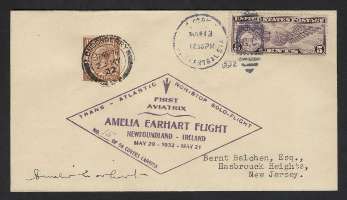 Amelia Earhart solo transatlantic flight cover, May 20, 1932. On her historic solo flight across the Atlantic, Earhart carried 50 pieces of unofficial mail—each postmarked before and after landing, cacheted, numbered, and autographed to document the record-setting event.