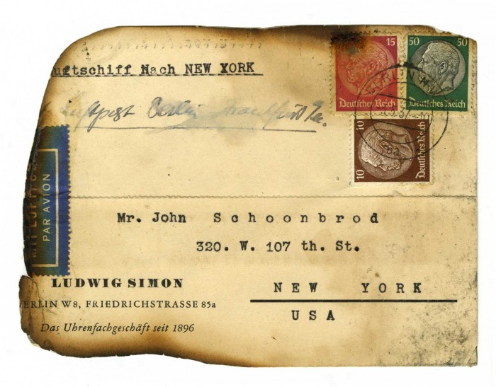 Hindenburg disaster card, May 6, 1937. This piece of mail was  salvaged from the wreckage of the airship Hindenburg. The burnt card reached its address in a glassine envelope with an official seal. At least 360 of the more than 17,000 pieces of mail on board the airship survived the disastrous fire.
