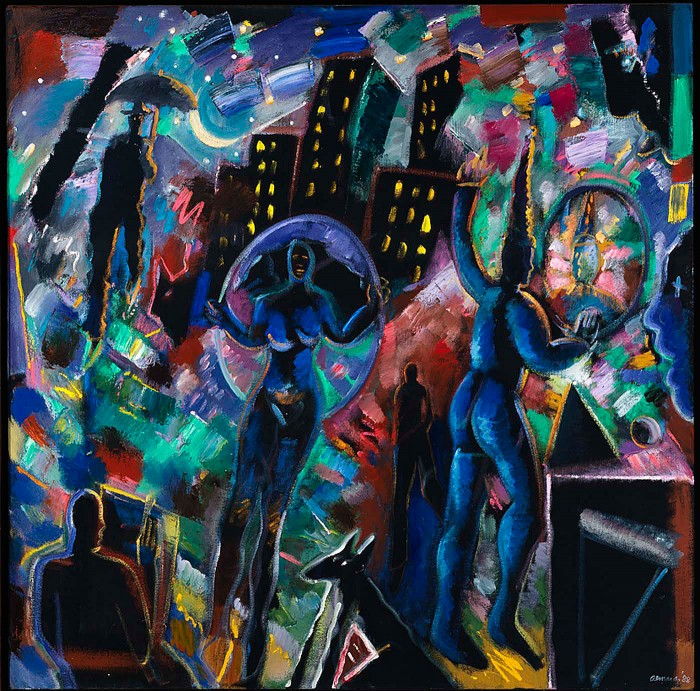 Carlos Almaraz, Night Magic (Blue Jester), 1988, oil, Smithsonian American Art Museum, Gift of Gloria Werner. © 1988, Carlos Almaraz Estate