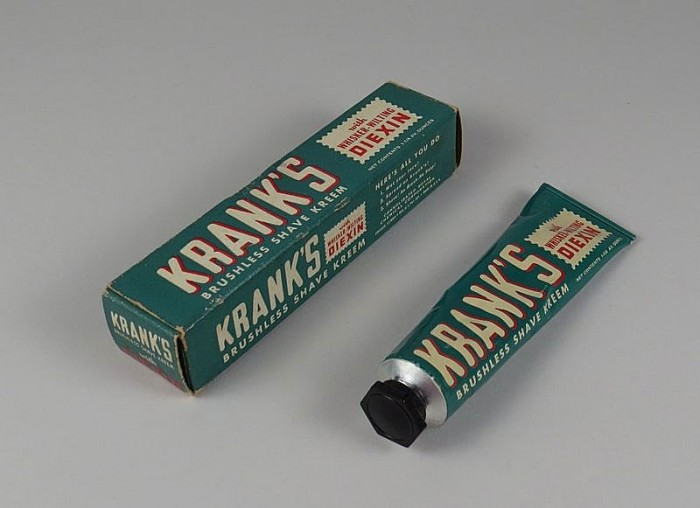 "The box's instructions on how to use Krank's Kreem are easy enough to follow: ""1. Wet your face! 2. Spread on Krank's! 3. Shave! No Brush…No Soap!"" Anybody going to give it a try?"