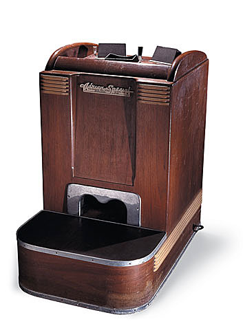 In 1986, the National Museum of American History acquired this fluoroscope, one of perhaps only a handful extant, from a shoe store in northern Ohio. The mid-1930s vintage, walnut-cabinet machine was one of thousands produced by the Adrian X-Ray Company of Milwaukee, Wisc., a leading manufacturer of the devices.