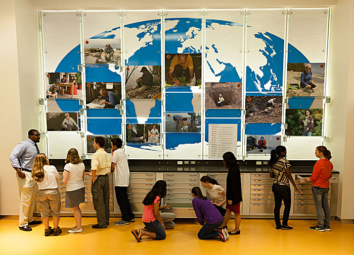 Visitors explore the lab area of the National Museum of Natural History's new education center, Q?rius, in Washington, D.C. (Phot by James Di Loreto)
